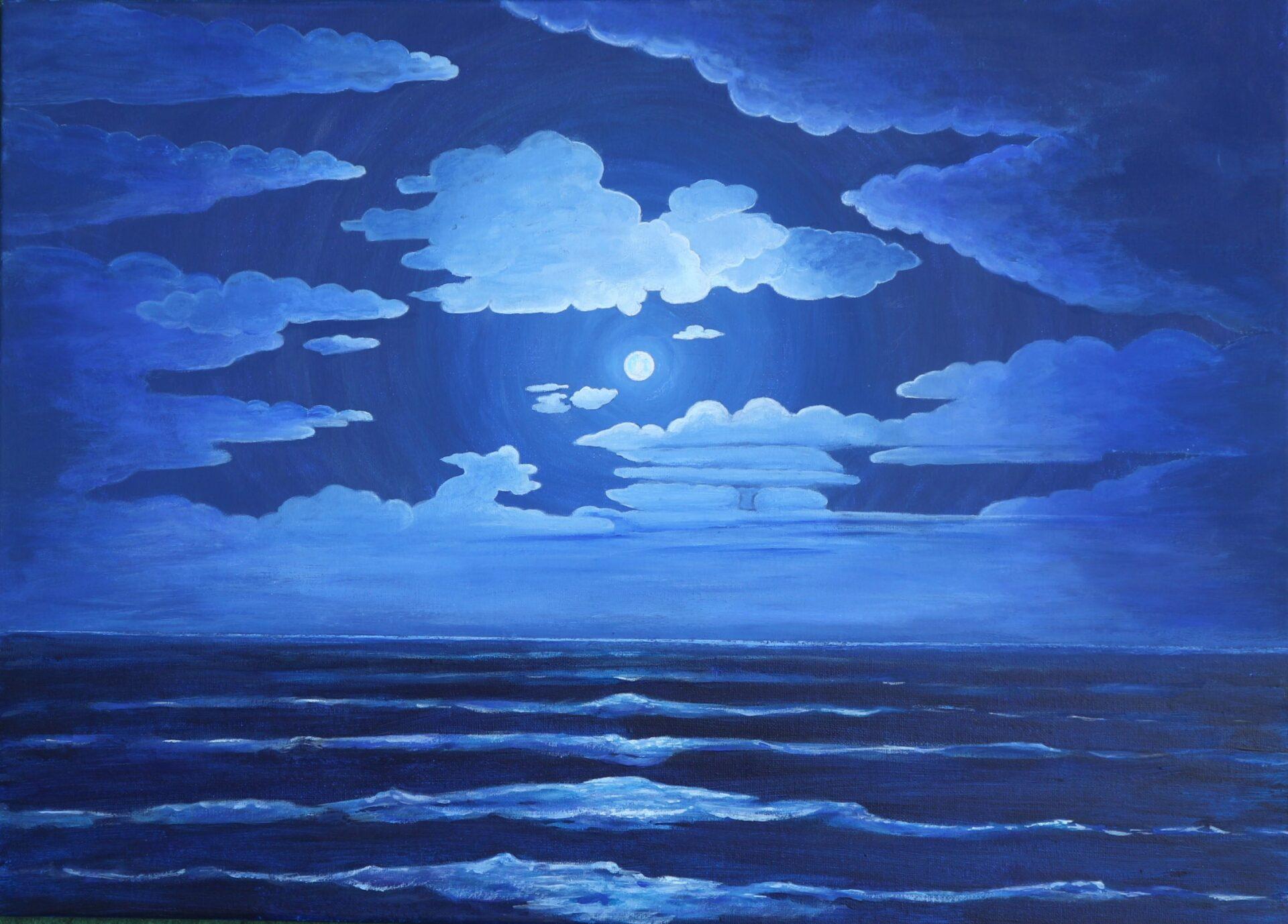 Mond über dem Meer