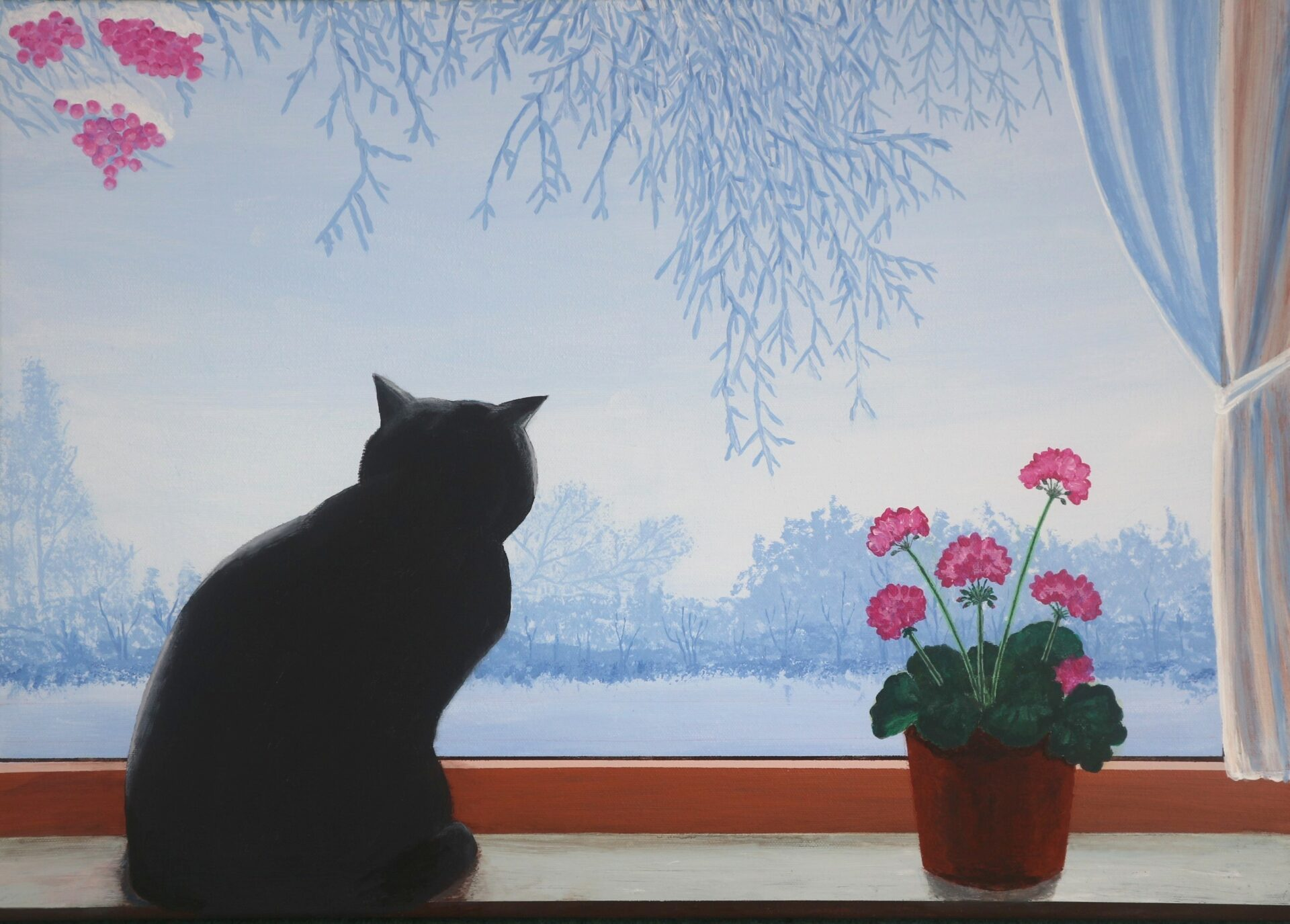 Gusta auf Fensterbank